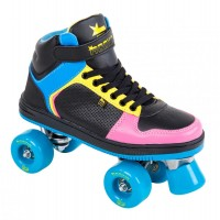Rookie Rollerskates Hype Hi Top Trainer Black/Blue/Pink/Yellow